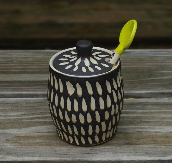 Ceramic Sugar Bowl or Honey Jar Black and White by ThrowingShop, $40.00