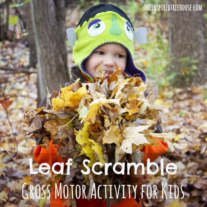 gross motor activities leaf scramble on The Inspired Treehouse