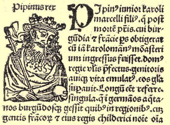 Pépin d'Italie, fils aîné de Charlemagne, roi d'Italie à 5 ans, en 781. Baptisé Carloman par le pape Adrien I°, Charlemagne décide de changer son nom en Pépin lors de la remise de la couronne de fer des rois de Lombardie en 781. Il est alors officiellement Pépin I° d'Italie. Il reçut, outre le titre de roi d'Italie la Lombardie la Bavière, l'Alémanie du Sud et tout le pays à l'Est du Rhin-Supérieur, la Corse en 806, et les îles Vénitiennes en 810. Il mourut en 810.