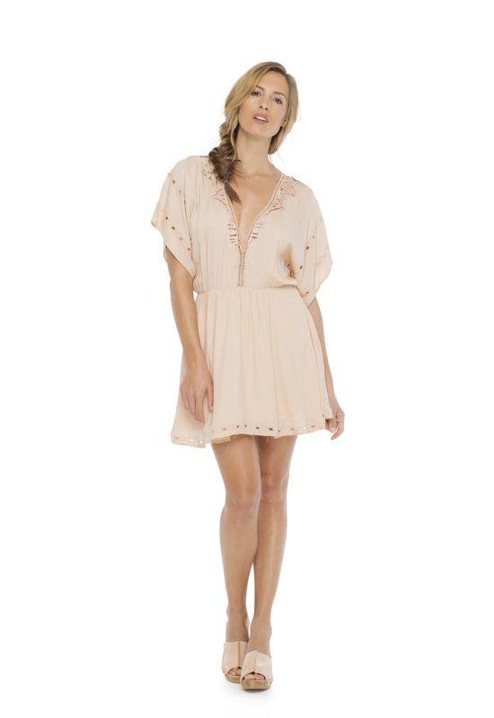 HELEN SLEEVE DRESS in Peach --  Mini dress with short sleeve V-neckline Kerawang embroidery hand made