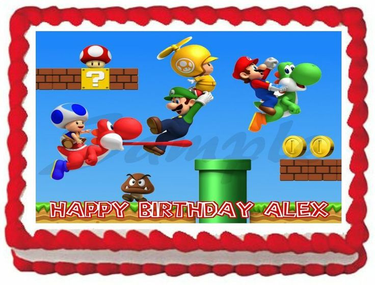 Mario Brothers Edible Cake Image
