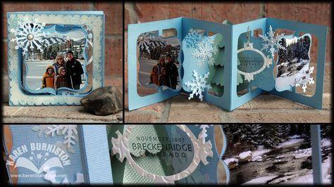 Karen Burniston Sizzix Dies: Accordion Album & Frame Label (schöne Idee für ein Minis mit Fotos zum Verschenken)