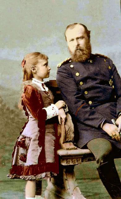 Alix with her father, Prince Louis of Hesse. (Alexandra Romanov later in life)