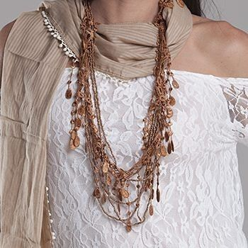 Lace and Beads Necklace - R80 Available in brown cream white  and grey. http://ift.tt/28Pis7W #lace #beaded #necklace #jewlery #accessories #boho #bohemian