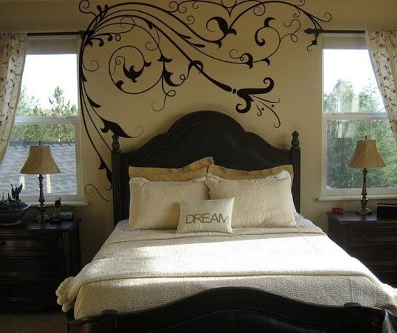 wall art like this is elegant without being too over the top and only works because of the pale beige room color!
