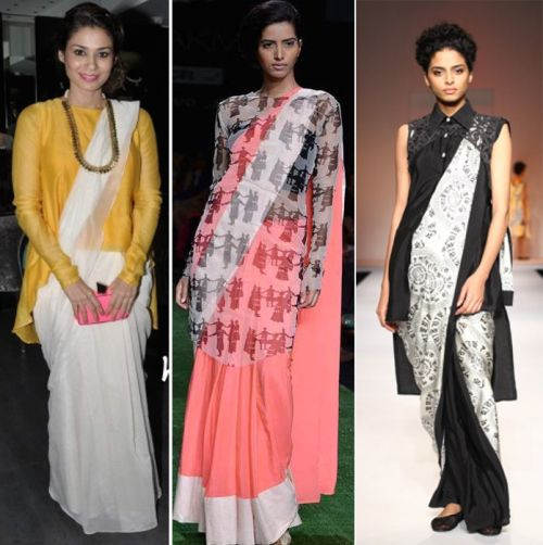 If you want to look sophisticated and classy, a tunic saree drape is an ideal choice for you. Fashion designer, Masaba Gupta brought this urban trend of wearing a tunic over the saree