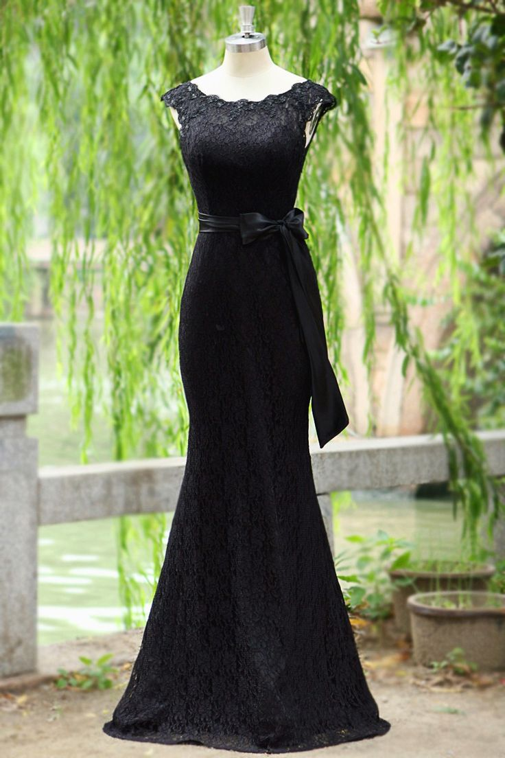 elegant Mermaid black lace Prom Dress,Long party Dress,evening dress,monther of the bride dress ,lace mother of the dress