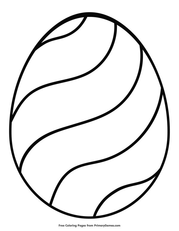 Easter Coloring Pages eBook: Easter Egg with Wavy Design