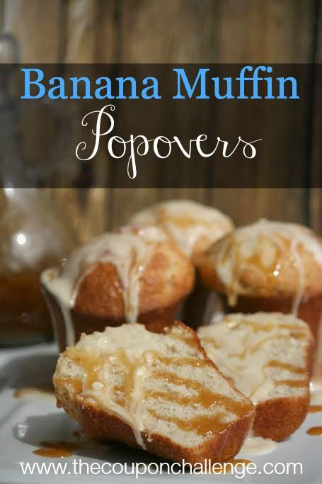 Recipe for Banana Muffins with a Popover Carmel Twist