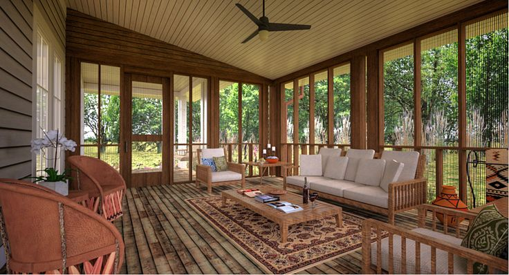 Sunroom - floor to ceiling windows, and a rustic wooden floor