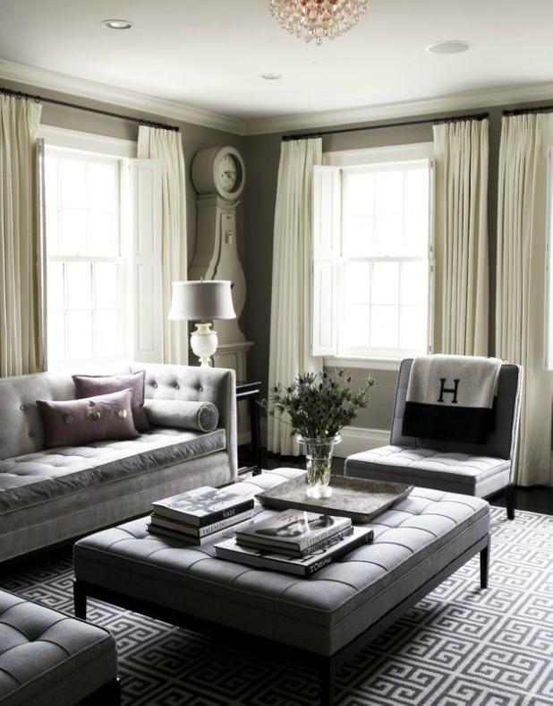 Warm grey walls, cool grey furnishings.