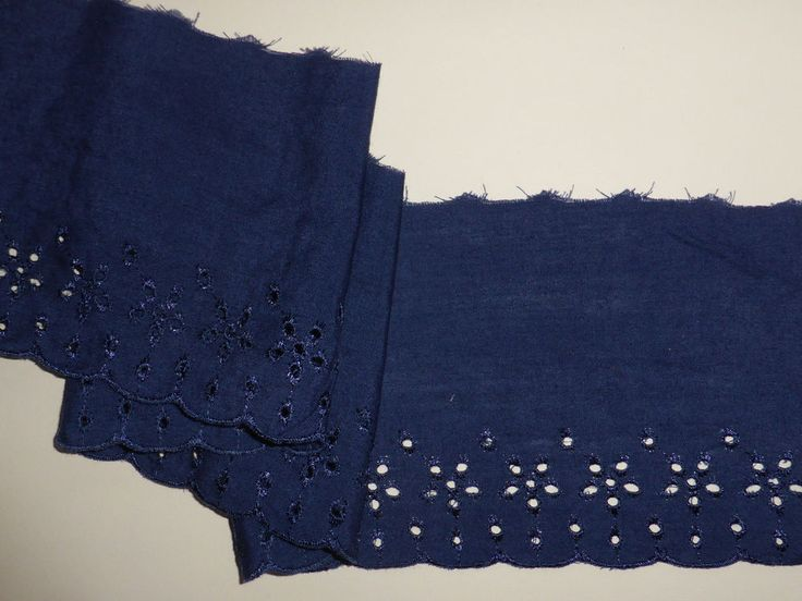 "French Navy/Dark Denim Blue Cotton Broderie Anglaise Lace Trim 4""/11.5cm Sewing"