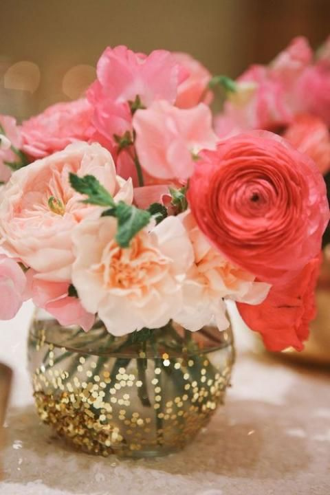 All That Glitters / Wedding Style Inspiration / LANE - jars rolled in glitter??