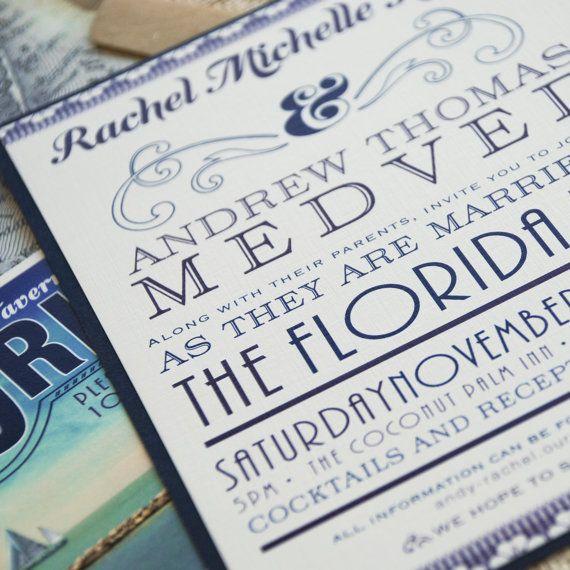 Vintage Florida Typography Wedding Invitation Keys Design Fee 45 00 Via