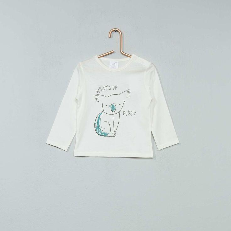 Tee-shirt à manches longues imprimé Bébé garçon - blanc cassé Koala - Kiabi - 2,00€
