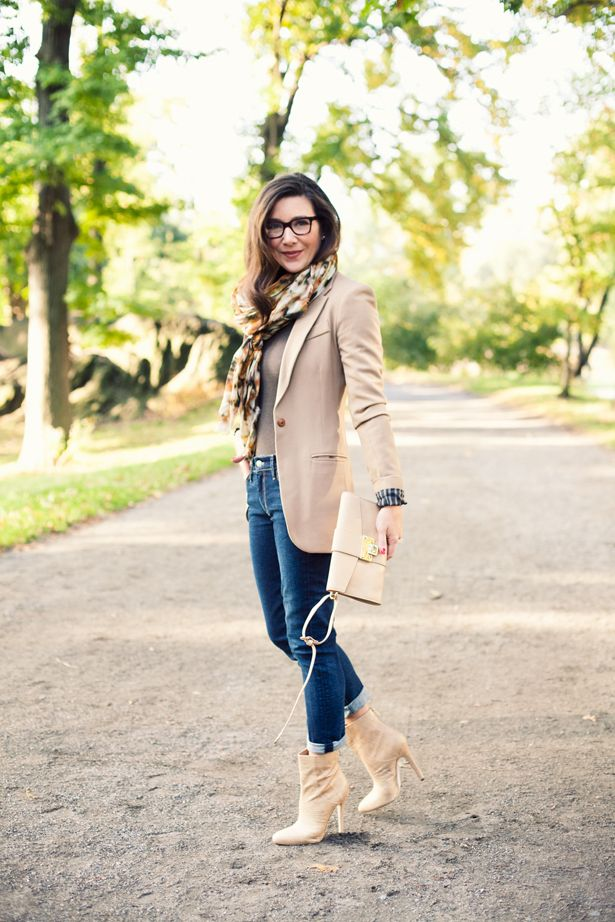 Getting some fresh air in Central Park in Jimmy Choo ankle boot & Rivera clutch    {Koral Los Angeles jeans, Georgie blazer (how I wore it last fall),Damir Domabodysuit & Mulberry scarf}