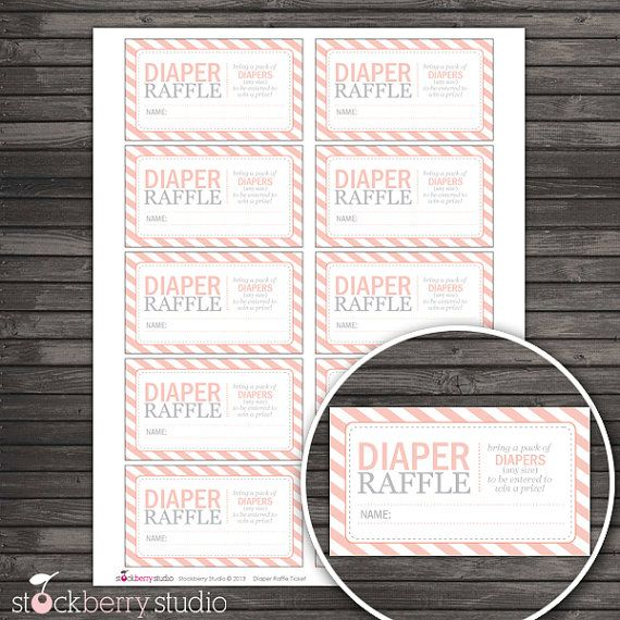Peach Baby Shower Diaper Raffle Tickets - Instant Download on Etsy, $3.00