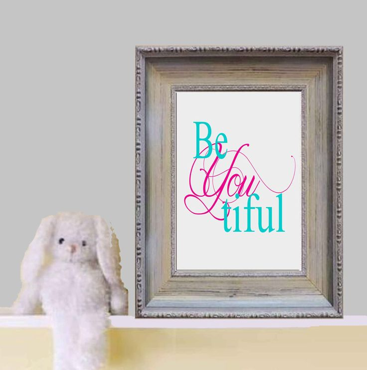 Beyoutiful printable Little girl bedroom quote print Gray pink turquoise nursery wall art Baby girl bedroom decor Baby shower gift Download by DorindaArt on Etsy https://www.etsy.com/listing/181496146/beyoutiful-printable-little-girl-bedroom