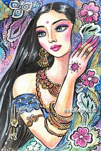 India Indian Woman Face Girl Tattoo Eastern Romantic by evitaworks
