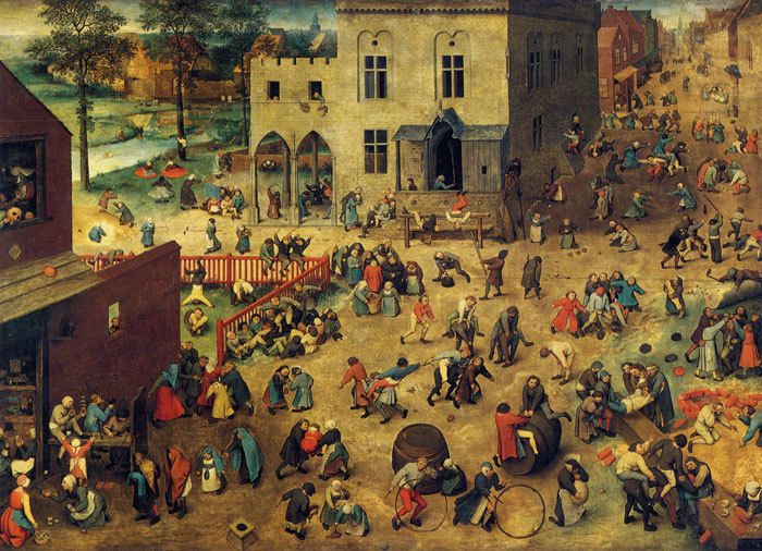 """Pieter Bruegel the Elder's """"Children's Games"""" with annotation.  """"Pieter Bruegel the Elder's """"Children's Games"""" [Painting],"""" in Children and Youth in History, Item #332, http://chnm.gmu.edu/cyh/primary-sources/332 (accessed March 10, 2012). Annotated by Miriam Forman-Brunell"""