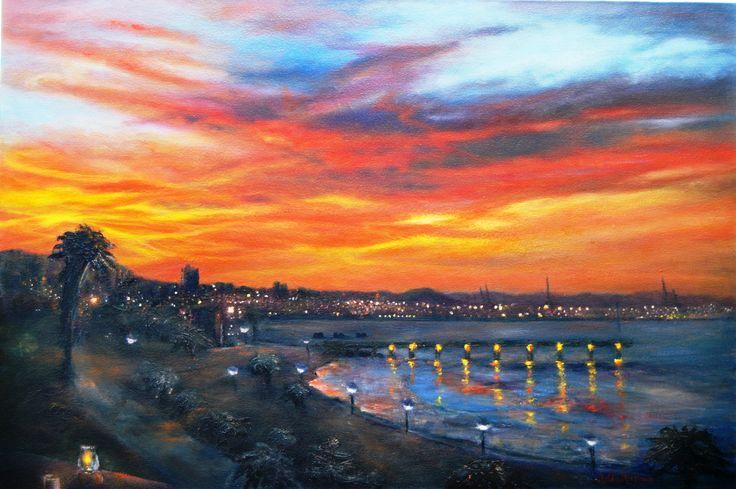 Good night, sleep tight PE IV 91 x 61 Oil on Canvas by Zelda Alistoun paintings (an evening scene of Port Elizabeth)