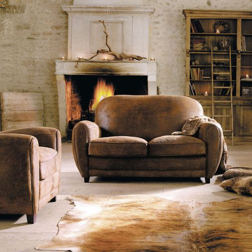 Canap 2 places imitation cuir marron arizona maisons du - Canape chesterfield maison du monde ...