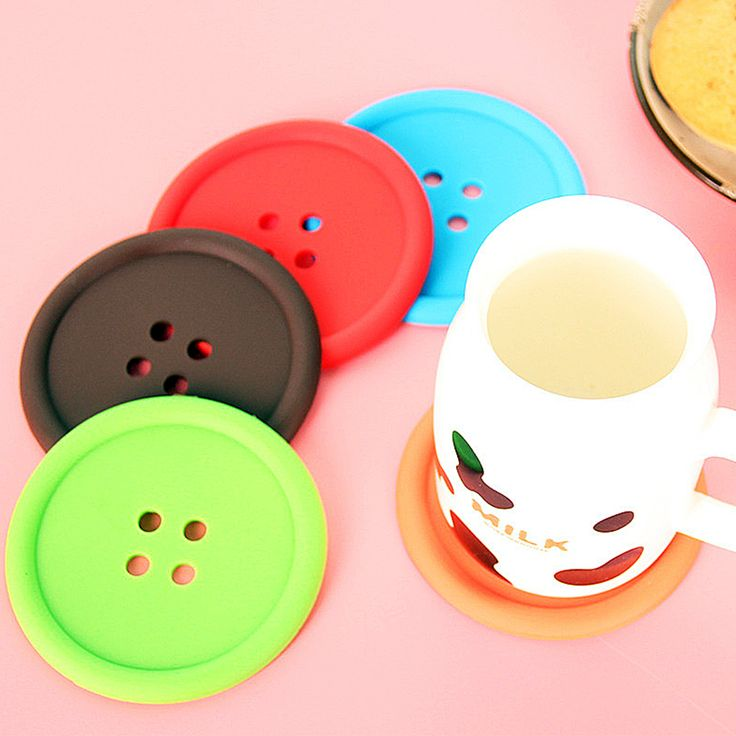 5pcs Silicone Cup Mat Cute Colorful Button Cup Coaster Coffee Pad