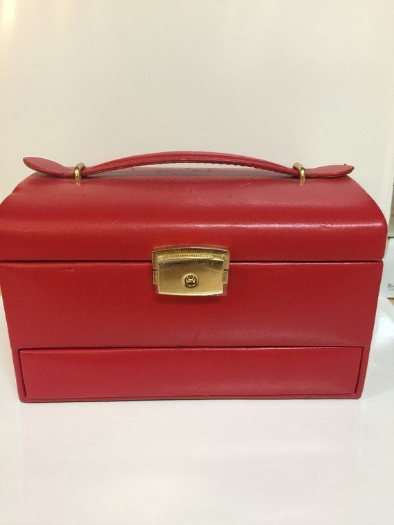 Vintage Red Leather Jewelry Box Red Travel Jewelry Case Red
