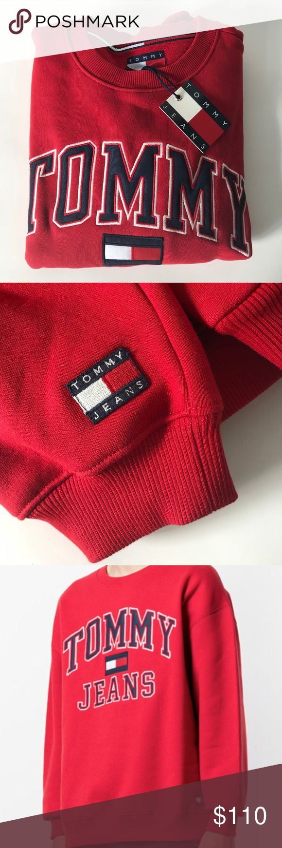 """Tommy Hilfiger Red Sweatshirt w/ logo Sold out online! Classic Tommy Hilfiger sweatshirt for that retro look. New but """"vintage"""". So hot right now!  Size M.  Flat measurements: 26 inches across from armpit to armpit (laying flat). 24.5 inches in length from top of shoulder to bottom hem. Please see my other listings for this sweatshirt in Large (Navy Blue) and X-Small (Grey). Tommy Hilfiger Tops Sweatshirts & Hoodies"""