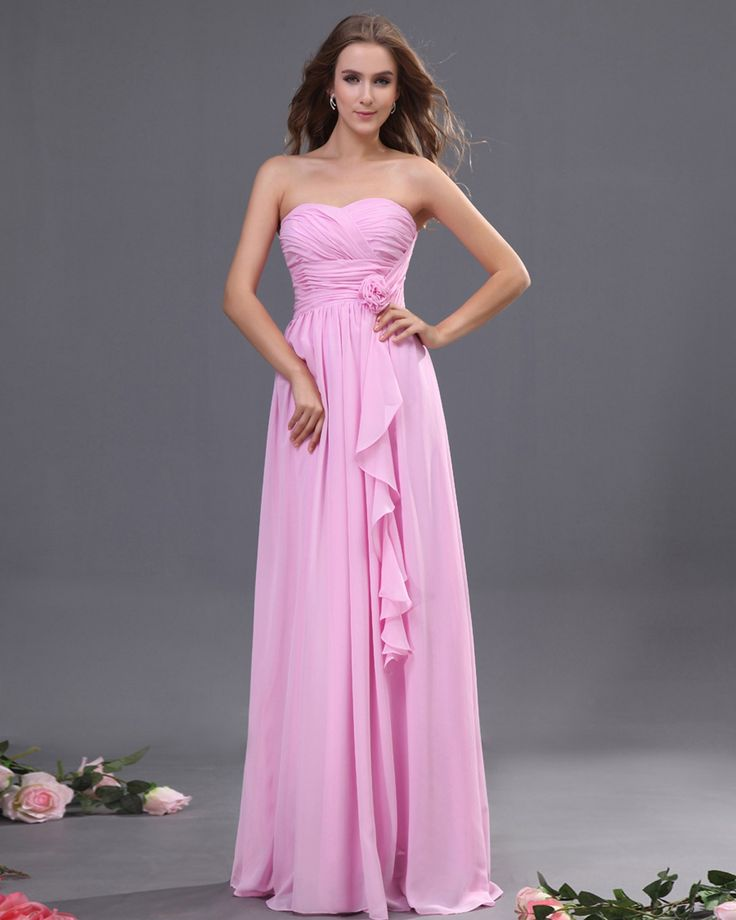 Ruched Bodice Sweetheart Pink Evening Dress