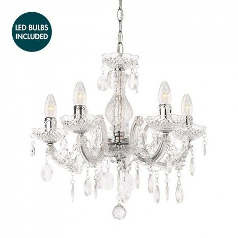 £108 WITH 5 led BULBS Marie Therese 5 Light Dual Mount Chandelier - Chrome with LED Bulbs