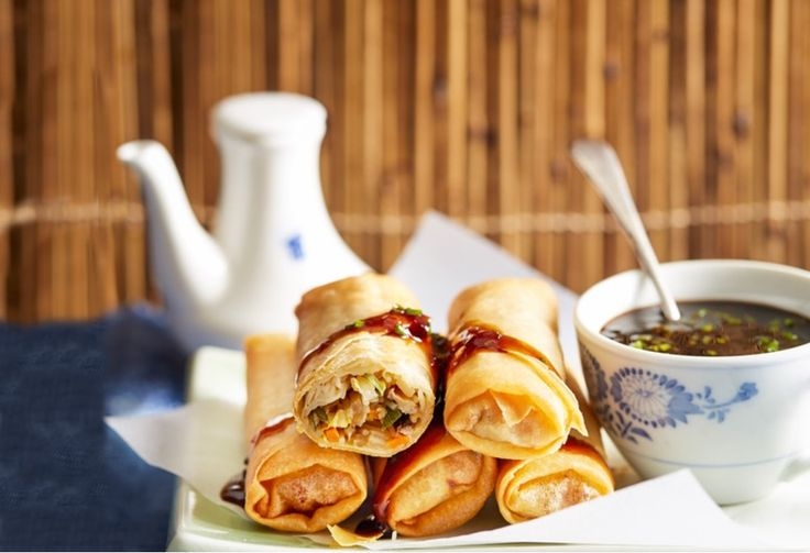 A vego's dream - shiitake mushroom, Chinese cabbage, chestnut, carrot, garlic and ginger stuffing in a baked golden spring roll case.