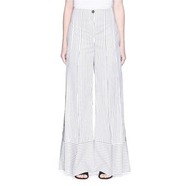 Tome Stripe poplin pleated wide leg pants (51,110 INR) ❤ liked on Polyvore featuring pants, white wide leg pants, wide leg pants, white pants, pleated pants and striped wide leg trousers