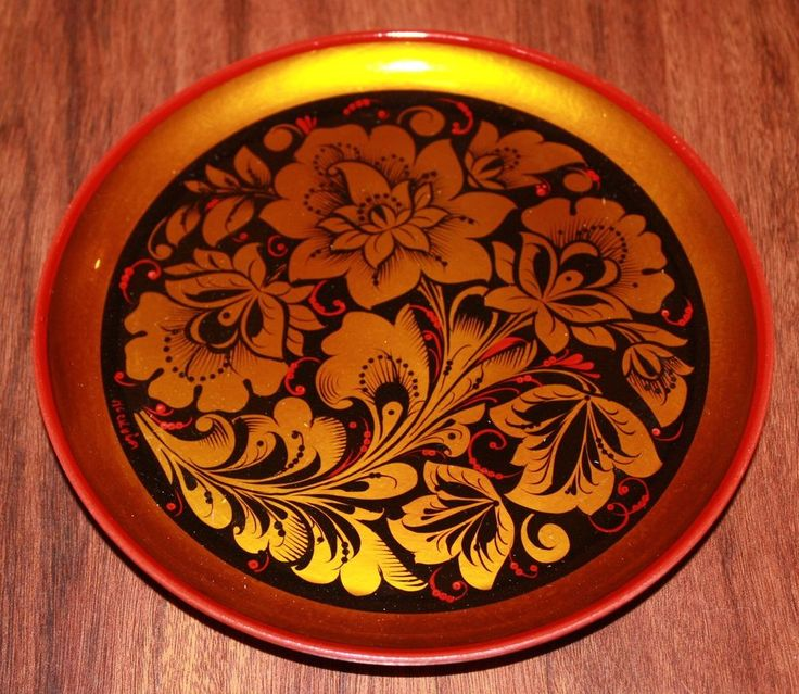 Russian Khokhloma Decorative Hand Painted Wood Plate 8