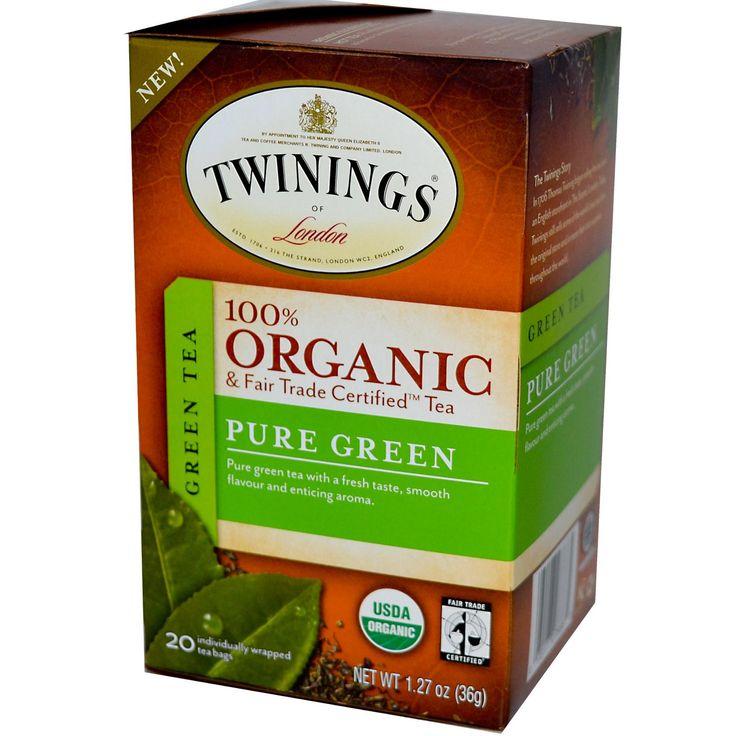 Twinings, 100% Organic Green Tea, Pure Green, 20 Tea Bags, 1.27 oz (36 g) - iHerb.com
