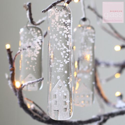 """""""Snowy glass houses."""" set of 3"""