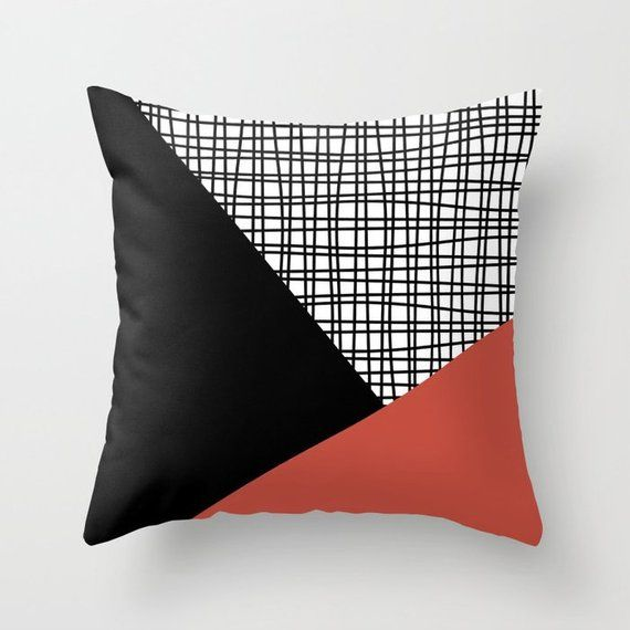 Black White Terracotta Red Throw Pillow Mix And Match Indoor Etsy White Throw Pillows Blue And Orange Living Room Red Throw Pillows