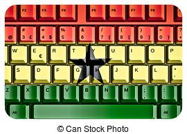 Computer Keyboard with Ghana Flag Concept