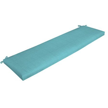 Mainstays Solid Turquoise 46 Outdoor Bench Cushion Walmart Com Patio Bench Cushions Bench Cushions Outdoor Bench