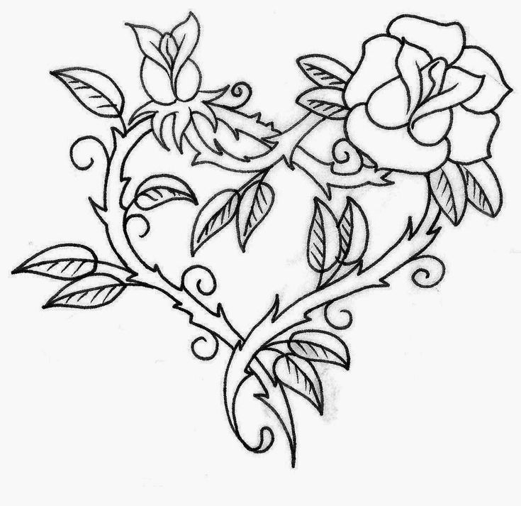 Printable Rose Stencils | Roses heart made tattoo stencil 10 (click for full size)