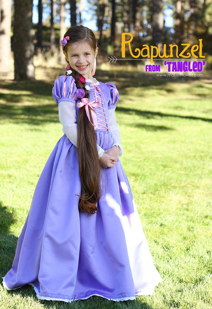 Homemade Halloween Costumes.....Rapunzel from Tangled (and a hair extension braid...) #DIY www.makeit-loveit.com