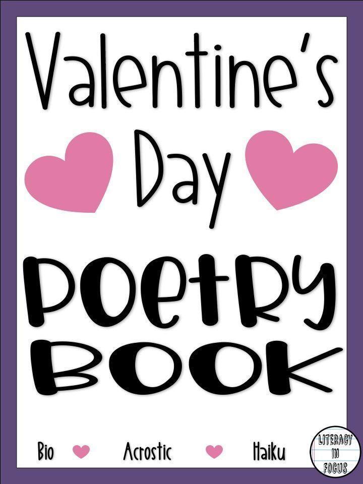 Valentine's Day Poetry Book. Celebrate Valentine's Day with poetry. Bio poem, haiku, and acrostic poems. #valentinesday #poetry #poetrybook