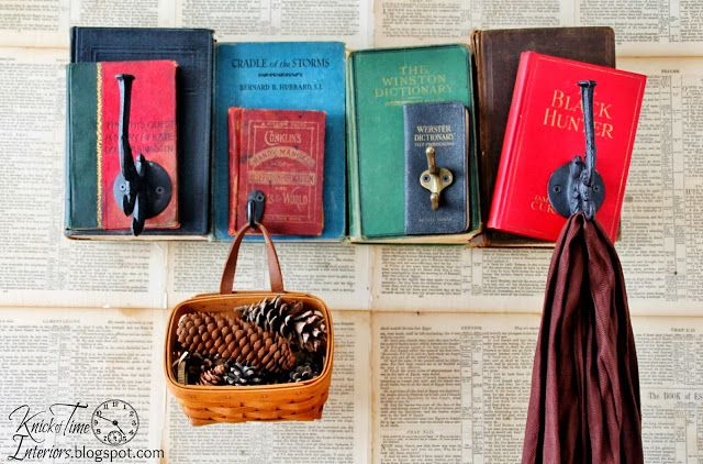 Now you can hang on every word with this unique coat rack created from old books! ~Full tutorial at Knick of Time~