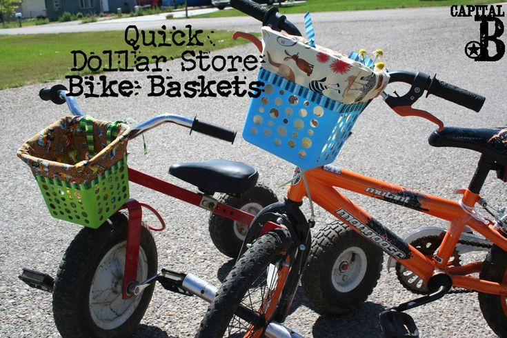 Turn a Dollar Tree basket into a kids bike basket! Pattern and instructions here- quick and easy project that your kids will love!