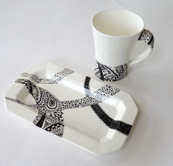 Handpainted tray black and white zentangle doodle by KilnFiredArt, £18.00