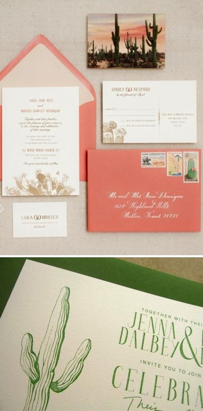 wedding stationary with cacti inspiration