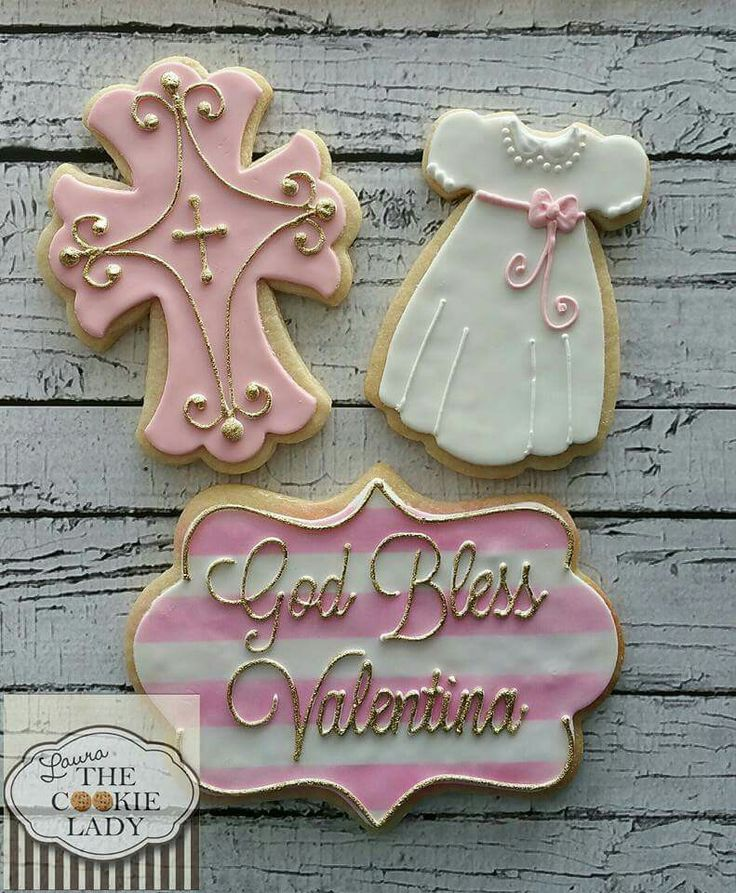 Laura The Cookie Lady:  Christening cookies.  Cross.  Christening gown.  Plaque.