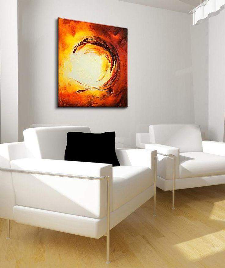 Acryl schilderij 'Sun City' van Buttner. Een abstracte vlammende zon in rood koper oranje en wit, een prachtig schilderij van 70 x 80 cm om een lichte hoek in je interieur een bijzondere touch te geven. Bekijk het schilderij in webwinkel www.kunstvoorjou.nl #kunst #witinterieur #zon #interieur #muurdecoratie #kunstaandemuur