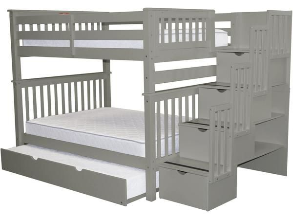 Bunk Beds Full Over Full Stairway Gray Full Trundle Bunk Bed With Trundle Stairway Bunk Beds Full Bunk Beds