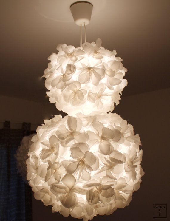 Pendant lamp / white / lamp shade paper flower / double lamp shade / handmade / living room & bedroom